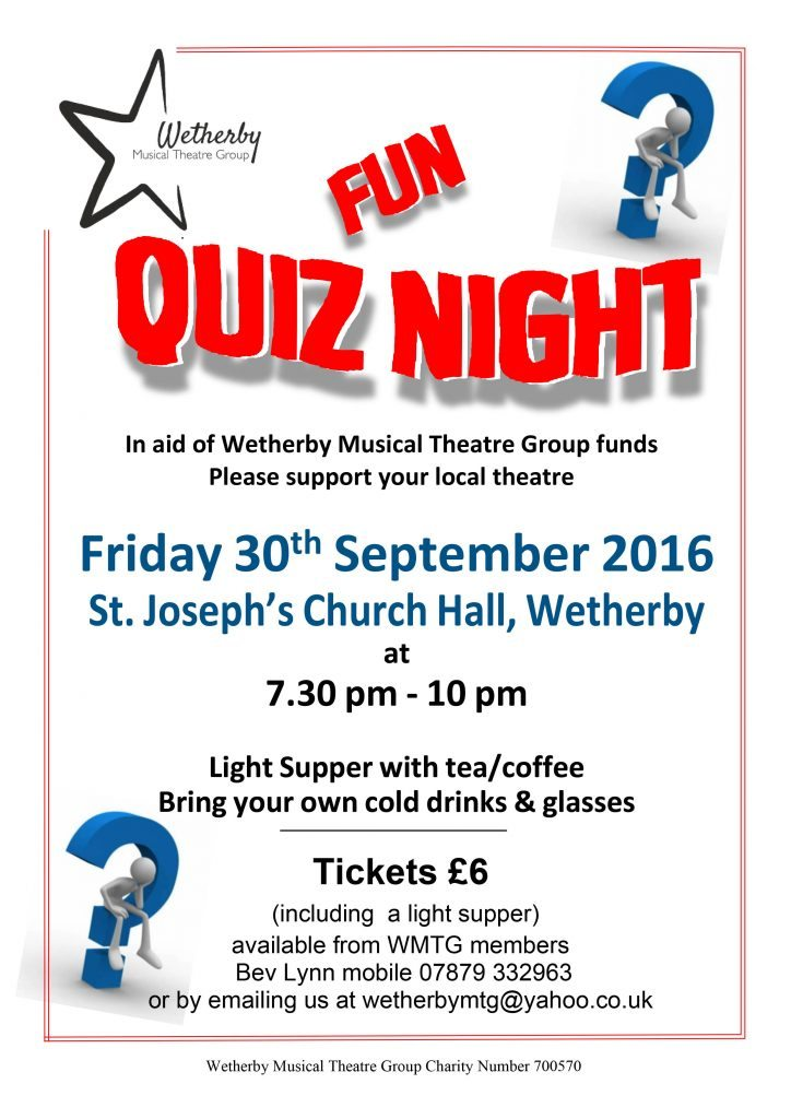 Quiz Night: 30 September 2016